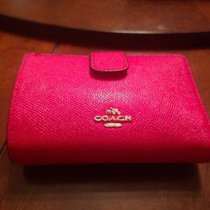 Coach Pink Leather Corner Zip Wallet